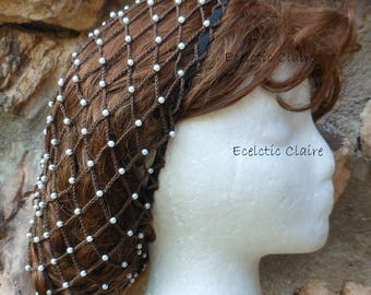 Beaded Renaissance Victorian Fudge Brown Snood Hair Net With Off-White Pearl Beads Below the Shoulder Length Hair