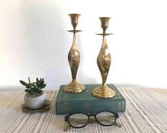 Set of two Mid Century Modern Brass Candle Holders - Candle Sticks - Twisted -  Danish Modern