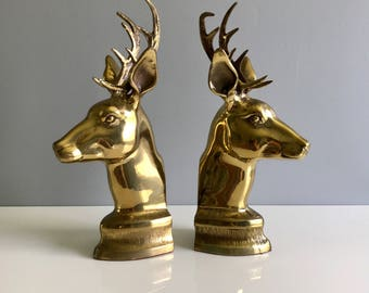 Brass Deer Bookends / Brass Stag Bookends / Solid Brass Bookends
