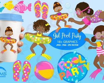 Girl Pool Party Clipart, Dark skin tone girls, Birthday Party Clipart, Swimming clipart, Summer clipart, Beach clipart, AMB-1998