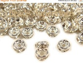 SALE 6 mm Crystal Clear Silver-Plated Brass Crystal Rhinestone Rondelle - Grade AAA - Nickel Free and Lead Free - 20 pcs
