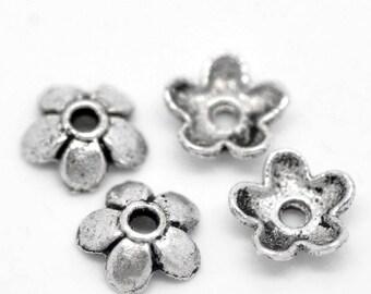 30 caps flower bead caps Caps silver 6mm