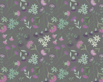 A239-3 Celtic Blessings Thistle Floral on Grey Lewis & Irene Patchwork Quilting Fabric