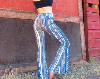 BOHEMIAN gypsy blue white brushed cotton 70's flare leg  hippie retro festival yoga beach lounge bell bottoms