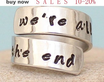 We are all stories in the end - Dr Who Ring - Hand Stamped Ring - Personalized - Silver Ring
