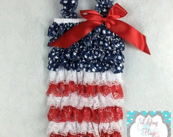 Patriotic 4th of July Ruffle Petti Romper Red White and Blue USA Star Lace Romper 4th of July Outfit