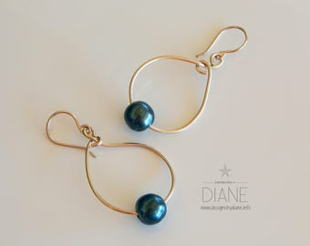 Gold Hoops with Tahitian Pearl