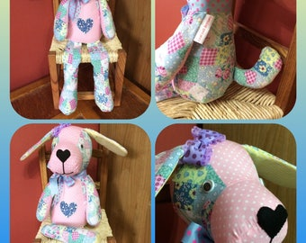 Patchwork Puppy Toy, Puppy Stuffed Toy, Baby Shower Gift, Handmade Soft Toy, Dog Lovers Gift, Christmas Gift, Soft Toy, Child's Gift Idea