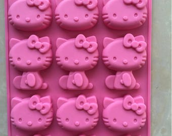 Hello Kitty Silicone Mold for fondant, clay, candy, chocolate/baking supplies, candy making, craft, Hello Kitty Party/candy making