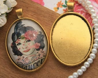 Vintage Photo Glass Cabochon Blank Pendant Cameo Bases 30*40mm Oval Cabochons Tray Glass Cabs Bases Jewelry Necklace Pendants PTO34-A1017
