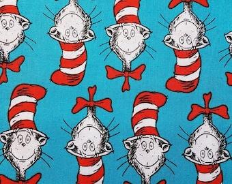 Dr Seuss Cat in the Hat fabric - Fat Quarter - 100% cotton - Blue
