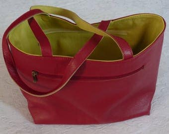 Reversible red/green leather tote bag