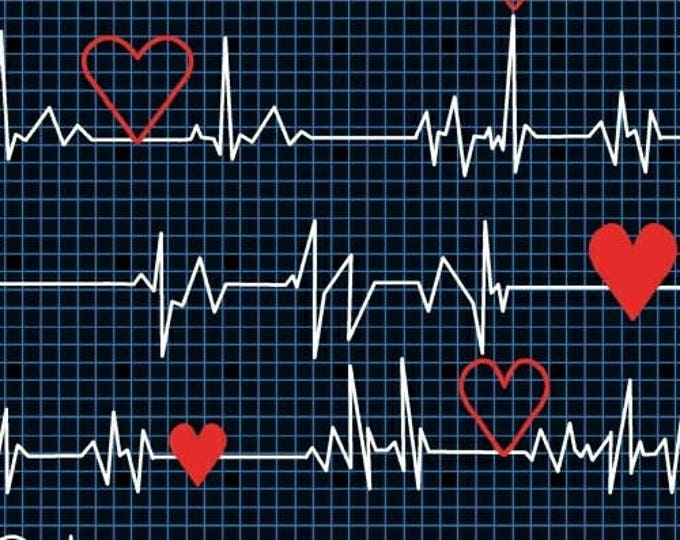 """28"""" REMNANT Calling All Nurses - Heart Beat EKG in Black - Cotton Quilt Fabric - Whistler Studios for Windham Fabrics 37302-1 (W449)"""