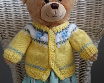 Teddy Bear hand knit bright yellow fair isle cardigan