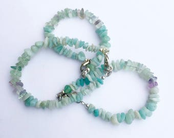Blue Gemstone Chips Bracelets, Fluorite and Amazonite Bracelet,  Delicate Boho Bracelet, Friendship Bracelet, Stacking Bracelet