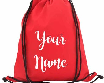 Personalised PE Bag, Swimming Bag - with a name of your choice 100% Cotton 40x45cm PE Bag - School Bag - Drawstring Bag