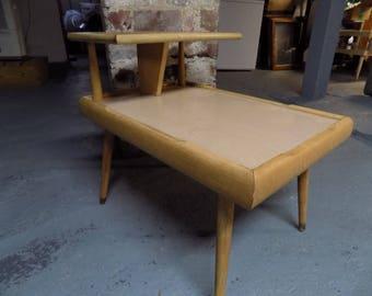 Vintage Danish Modern End Table Side Table 2 Tier Blonde Wood Mid Century Retro