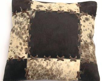 Natural Cowhide Luxurious Patchwork Hairon Cushion/pillow Cover (15''x 15'')a188