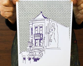 "Washington DC Letterpress Poster | Madams Organ in Adams Morgan | purple & light grey 8"" x 10"" poster"