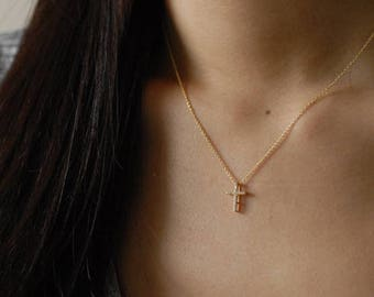 Gold Tiny CZ Cross Necklace - Gold plated over Sterling Silver