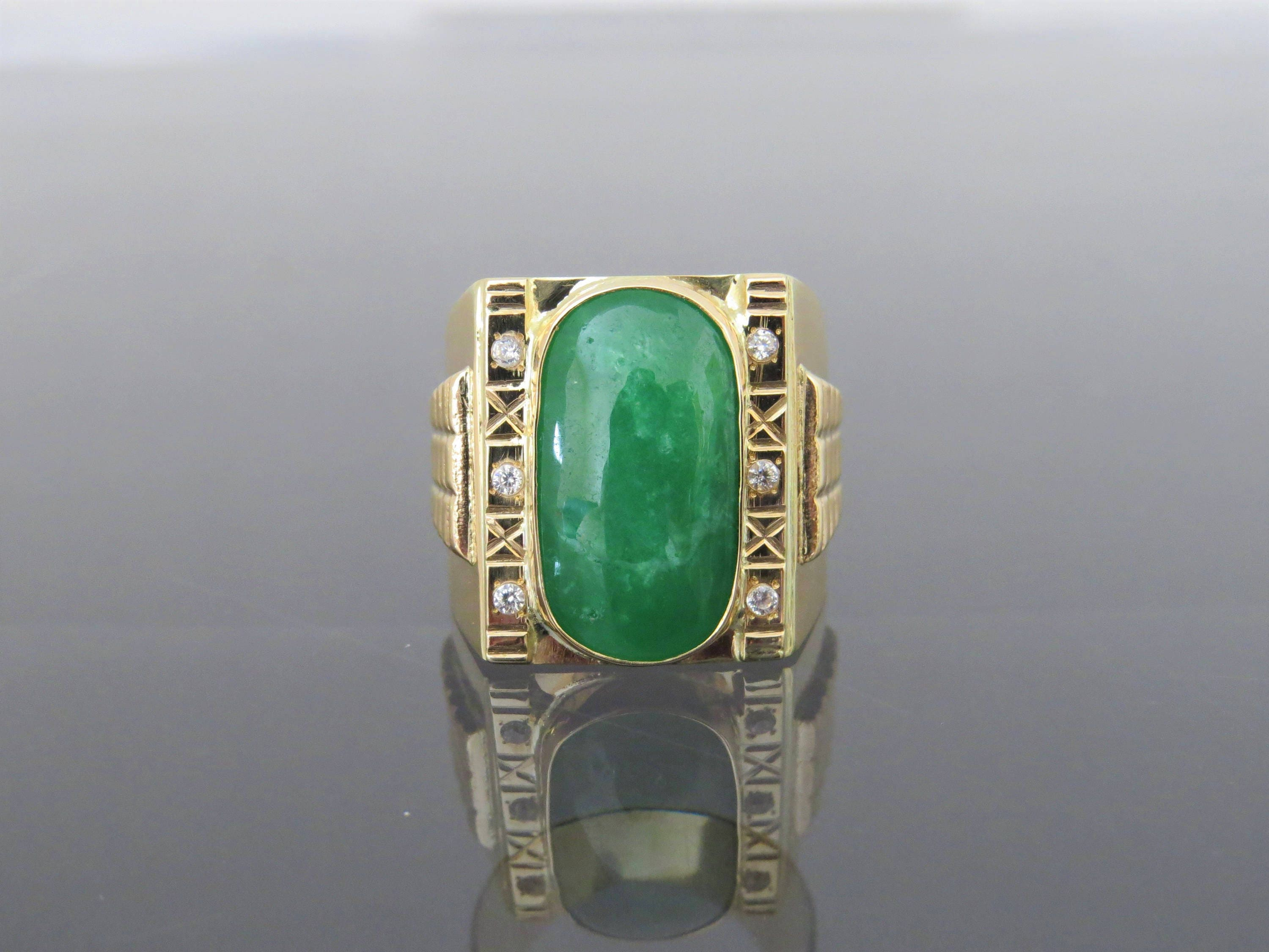 gold channel white set mens ring emerald in image diamond and