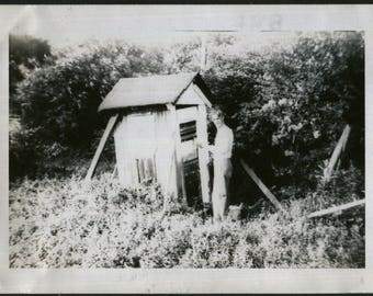 Vintage Photo of Falling Down Out House, 1930's Original Found Photo, Vernacular Photography