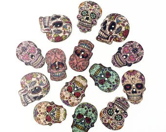 50 pieces Printed Skeleton Wooded Button Sewing Accessories Kids Decorative Button Handmade Embellishments For Scrapbooking DIY Craft 26mm