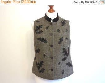 ON SALE Herringbone Ladies Vest Brown Autumn Leeves Applique Fitted Waistcoat Wool Blend Velevetee Mandarin Collar Steampunk