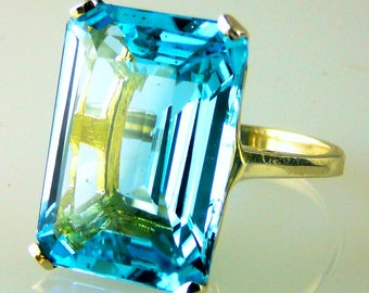 Stunning Very Large Emerald Cut Blue Topaz Ring 10k Yellow Gold 28.01 Carats