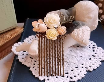 Ivory white Muted peach flower assemblage brass hair comb Flower girl Bridal hair comb Bridesmaid hair comb accessory