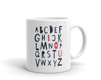 Alphabet ABC I Love You Coffee Mug