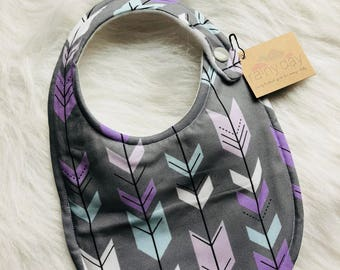 Baby girl bib, designer bib with snap. Grey. Purple. Blue. Arrows. Hipster. Trendy. Modern. Drooling.