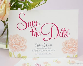 Wedding Save the Date Cards - English Rose theme