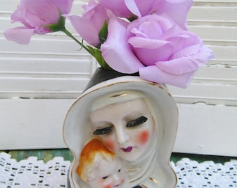 Vintage Madonna with Child Headvase Planter Made in Japan Glamorous Madonna Mary with Jesus Headvase
