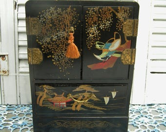 Vintage Wooden Lacquer Lacquerware Japanese Hand Painted Jewelry Box Japanese Garden Birds Flowers 4 Drawers Retro Made in Japan