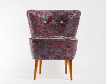 Kilim paterned Coctail Chair from 70's - restored