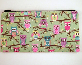 Green Owl Zipper Pouch, Pencil Pouch, Make Up Bag, Gadget Bag