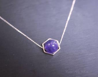 Natural Amethyst Necklace - 925 Sterling Silver Amethyst Choker,  Geometric Hexagonal Amethyst Jewelry Silver Purple Stone Pendant