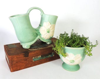 Weller Pottery Wild Rose Jardiniere and Double Vase Vintage 1930's