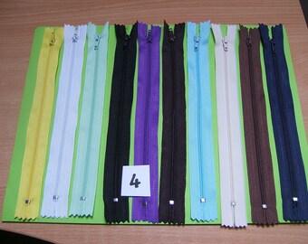 zippers 20cm x 10 units, color mixed no. 4