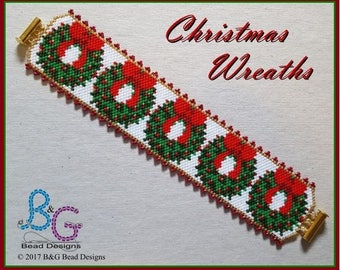 CHRISTMAS WREATHS Peyote Bracelet Cuff Pattern