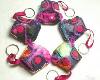 "Galaxy print Mini Cloth Diaper Keychain Charm 2"", Pocket Diaper Style with insert, Diaper Key chain"