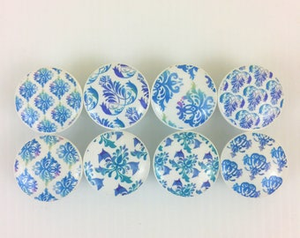 Set of 8 Blue and Purple Ombre Damask Cabinet Knobs