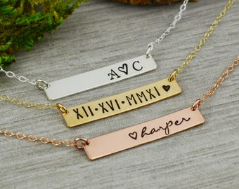 Custom Skinny Bar Necklace • Personalized Name Necklace • Roman Numeral Date Jewelry • Sterling Silver, Rose Gold, and Gold Necklace