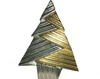 MODERN Christmas TREE Brooch Vintage Silver Gold MOD Tree Broach 80s Modernist Pine Tree Christmas Holiday Jewelry Pin Winter Jewellery Gift
