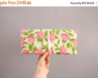 Pink Lemon Vinyl Accesories Trifold Make Up Roll [Cosmetics Roll Pencil Case Clean Folding] 12 inch x 5.5 inch