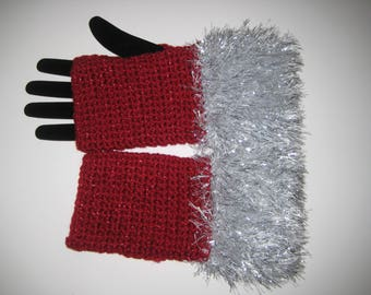 Red and silver fingerless gloves