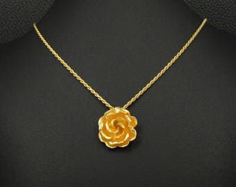 Victorian Rose Pendant & Chain 925 Sterling Silver 22K Gold Plated Greek Handmade Art Luxury