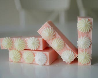 Strawberries and Cream Soap (5 oz.)/ Vegan natural homemade soap