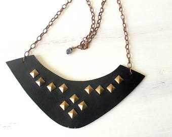 Black leather necklace and bronze pyramidal studs, fashion accessory for girls, gift idea